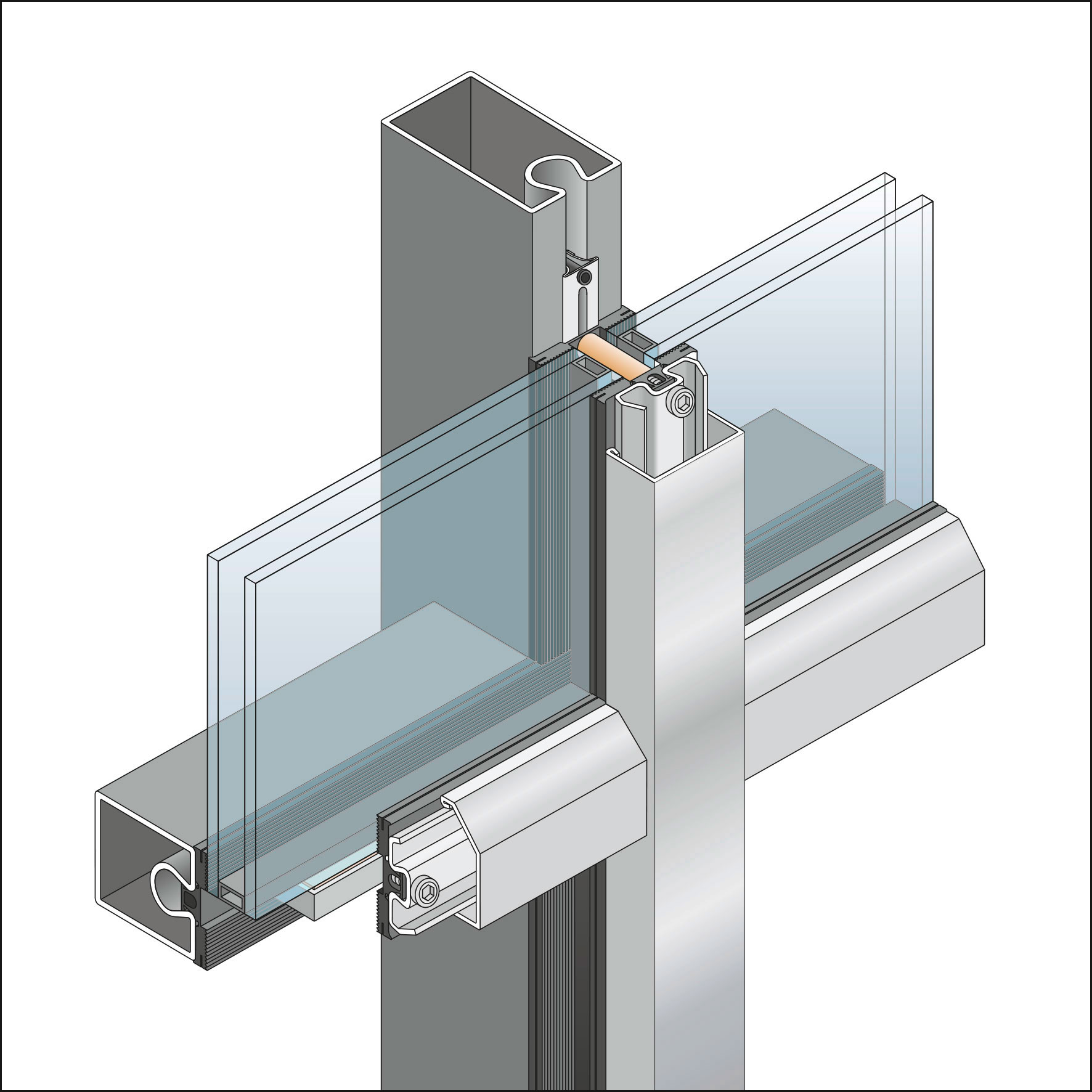 Inner Curtain Wall : Steel curtain wall section integralbook